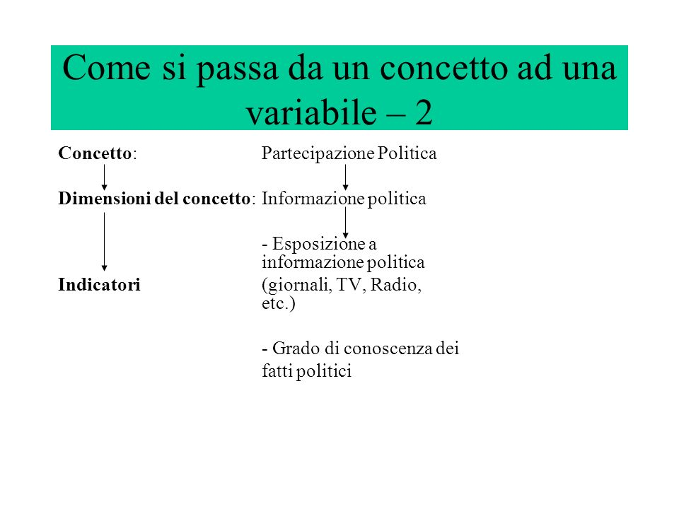 Come si passa da un concetto ad una variabile – 2