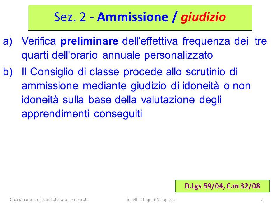 Sez. 2 - Ammissione / giudizio
