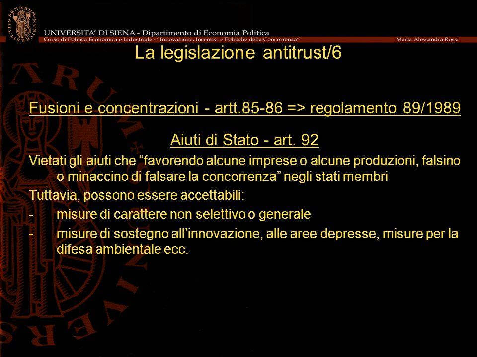 La legislazione antitrust/6