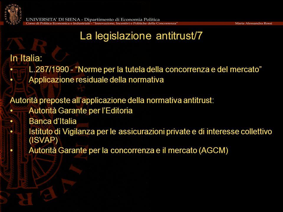 La legislazione antitrust/7
