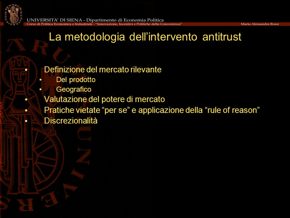 La metodologia dell'intervento antitrust