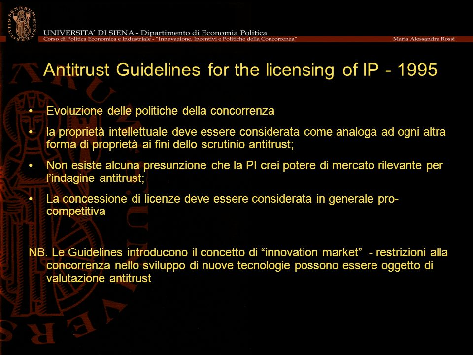Antitrust Guidelines for the licensing of IP