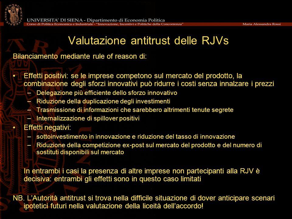 Valutazione antitrust delle RJVs