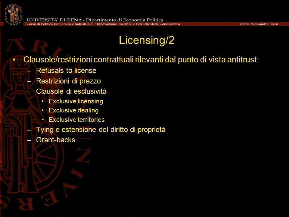 Licensing/2 Clausole/restrizioni contrattuali rilevanti dal punto di vista antitrust: Refusals to license.