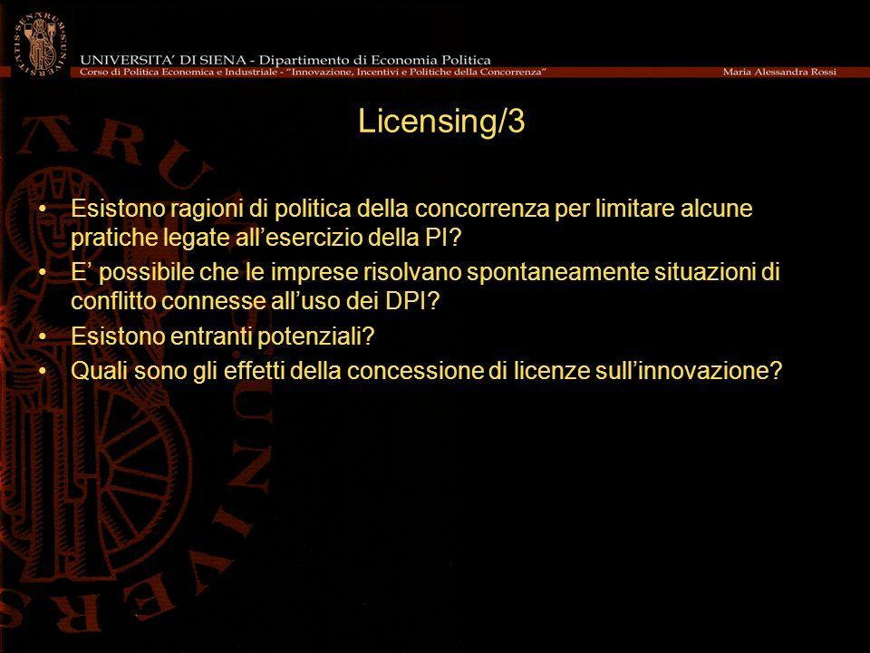 Licensing/3 Esistono ragioni di politica della concorrenza per limitare alcune pratiche legate all'esercizio della PI