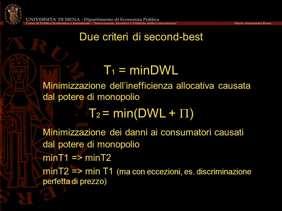 Due criteri di second-best