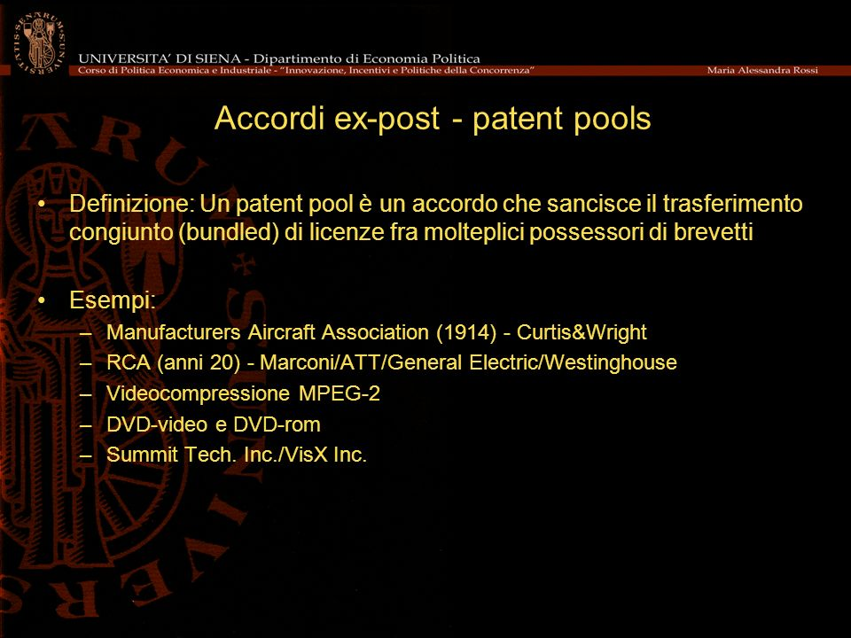 Accordi ex-post - patent pools