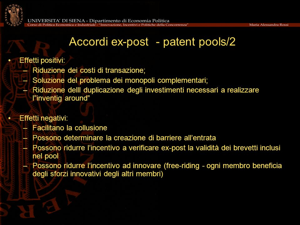 Accordi ex-post - patent pools/2