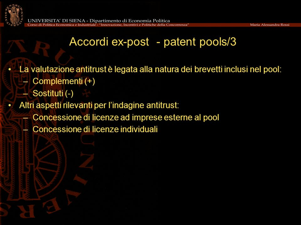 Accordi ex-post - patent pools/3