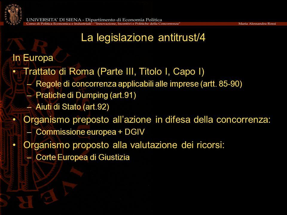 La legislazione antitrust/4