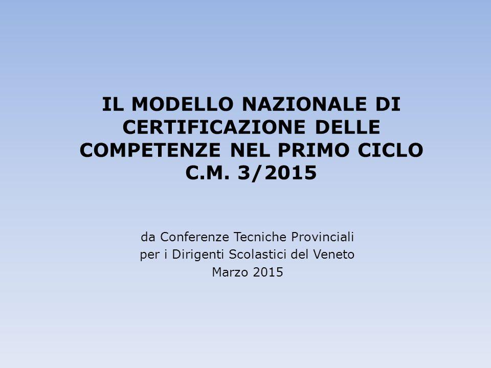 IL MODELLO NAZIONALE DI CERTIFICAZIONE DELLE COMPETENZE NEL PRIMO CICLO C.M. 3/2015