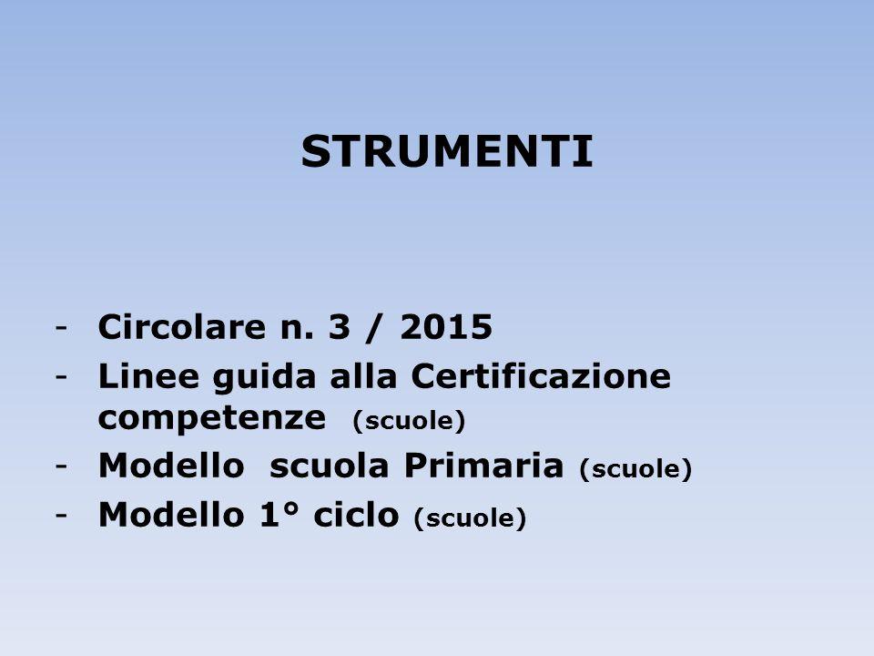 STRUMENTI Circolare n. 3 / 2015