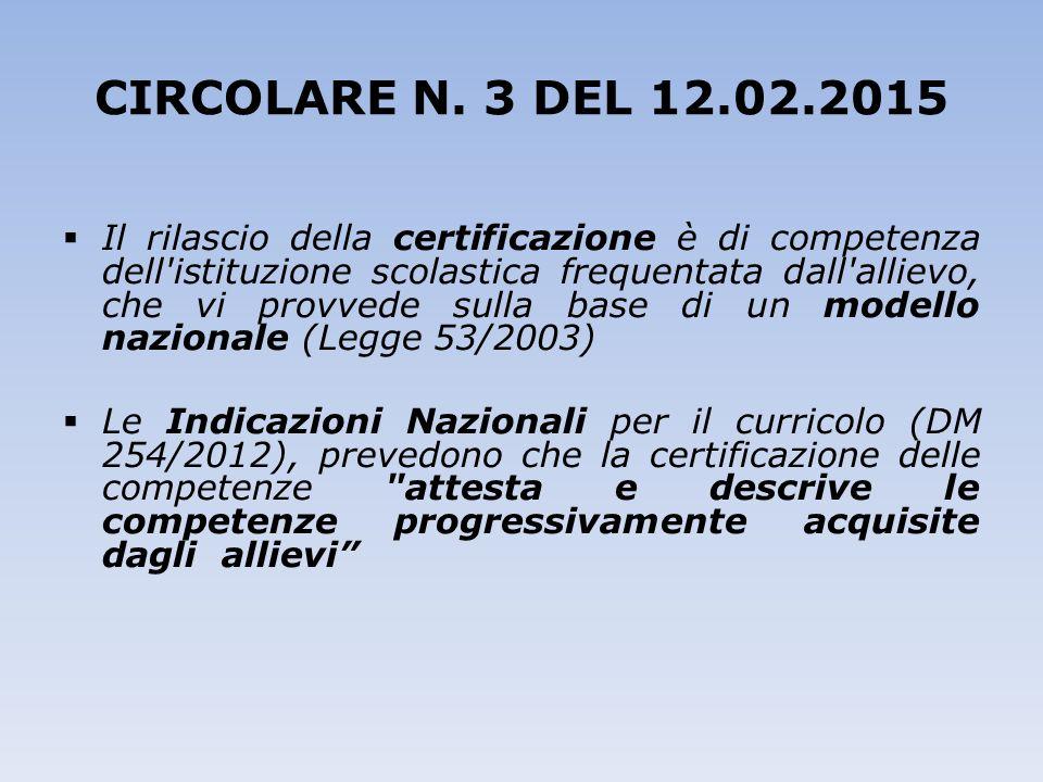 CIRCOLARE N. 3 DEL 12.02.2015