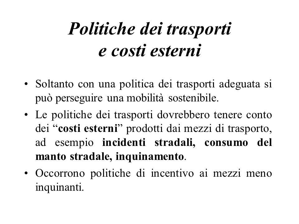 Politiche dei trasporti e costi esterni