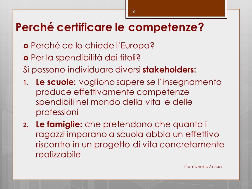 Perché certificare le competenze