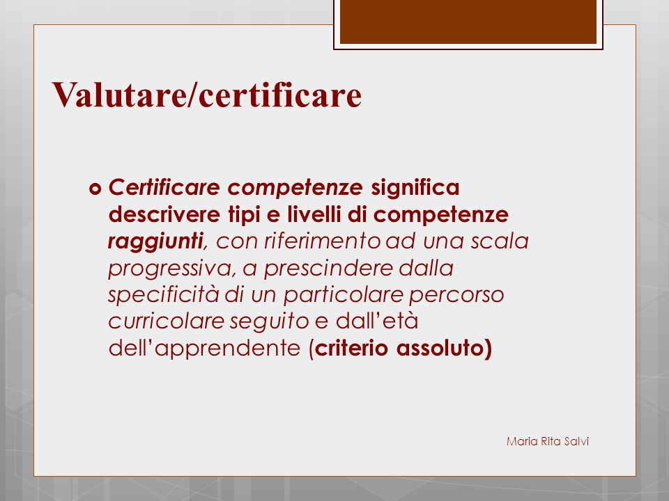 Valutare/certificare