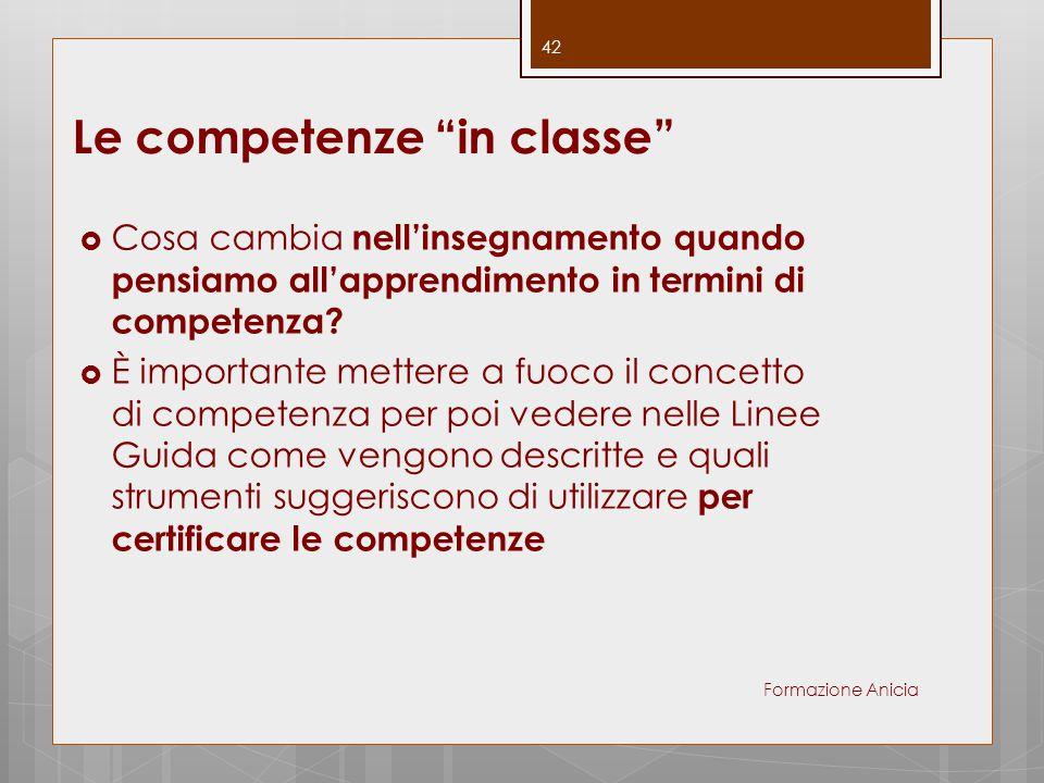 Le competenze in classe