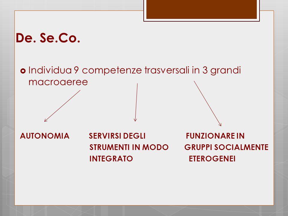 De. Se.Co. Individua 9 competenze trasversali in 3 grandi macroaeree
