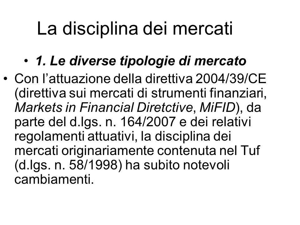 La disciplina dei mercati