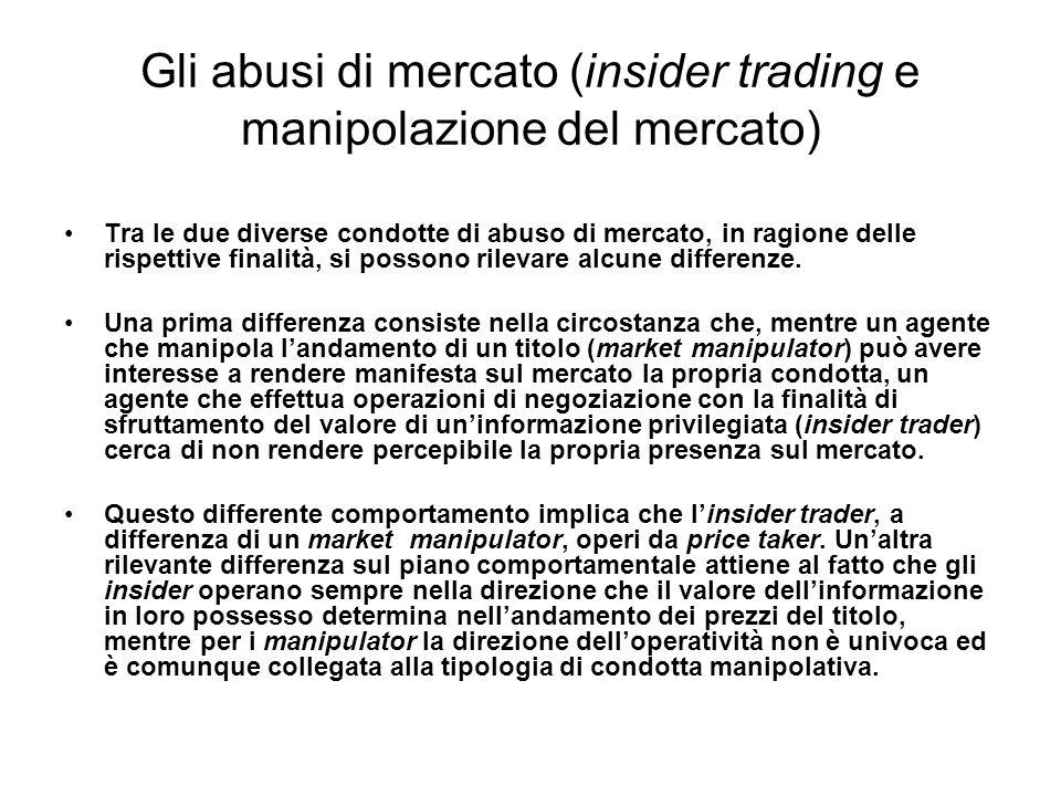 Gli abusi di mercato (insider trading e manipolazione del mercato)