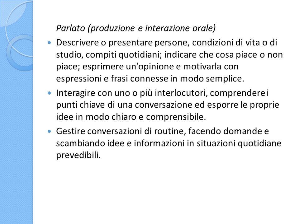 Parlato (produzione e interazione orale)