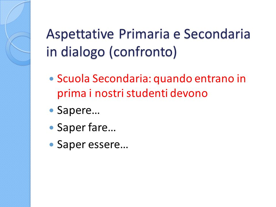 Aspettative Primaria e Secondaria in dialogo (confronto)