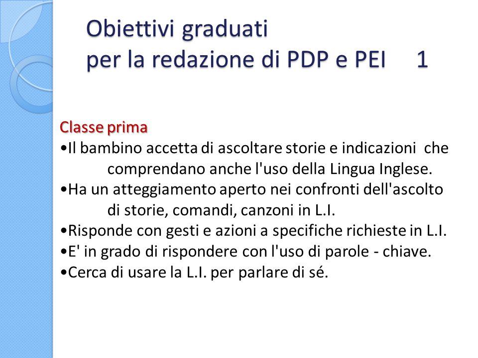 Obiettivi graduati per la redazione di PDP e PEI 1