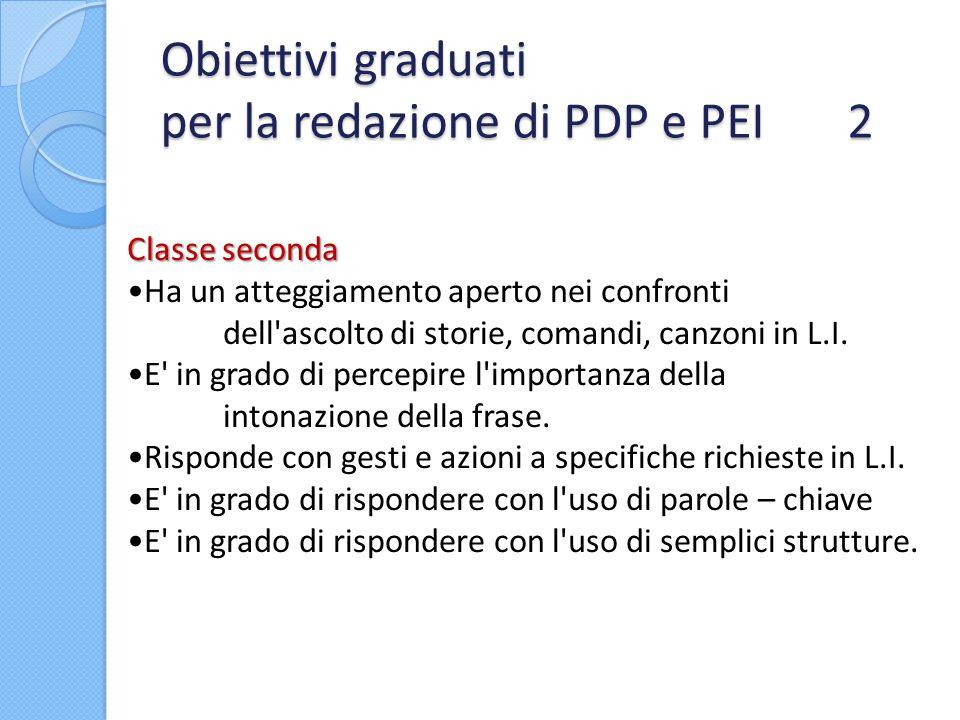 Obiettivi graduati per la redazione di PDP e PEI 2