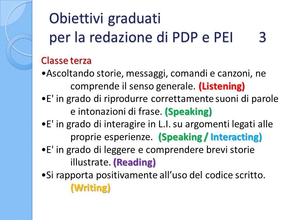 Obiettivi graduati per la redazione di PDP e PEI 3