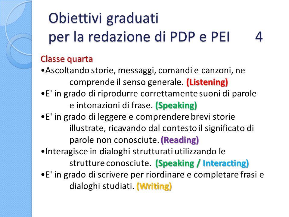 Obiettivi graduati per la redazione di PDP e PEI 4