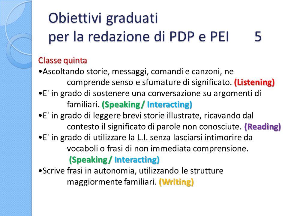 Obiettivi graduati per la redazione di PDP e PEI 5
