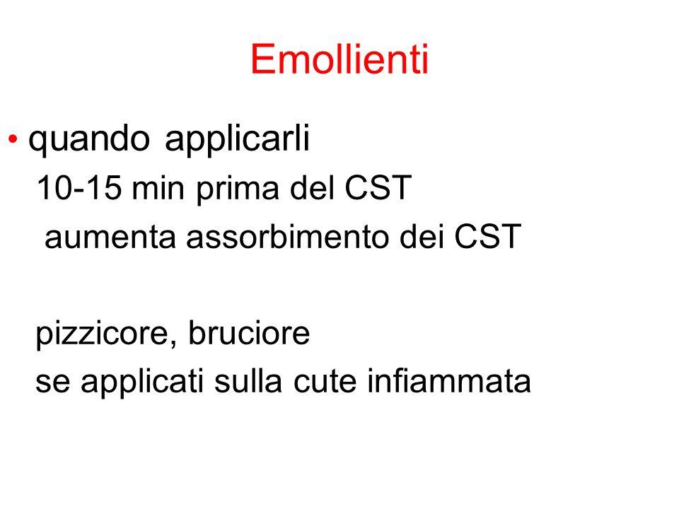 Emollienti quando applicarli 10-15 min prima del CST