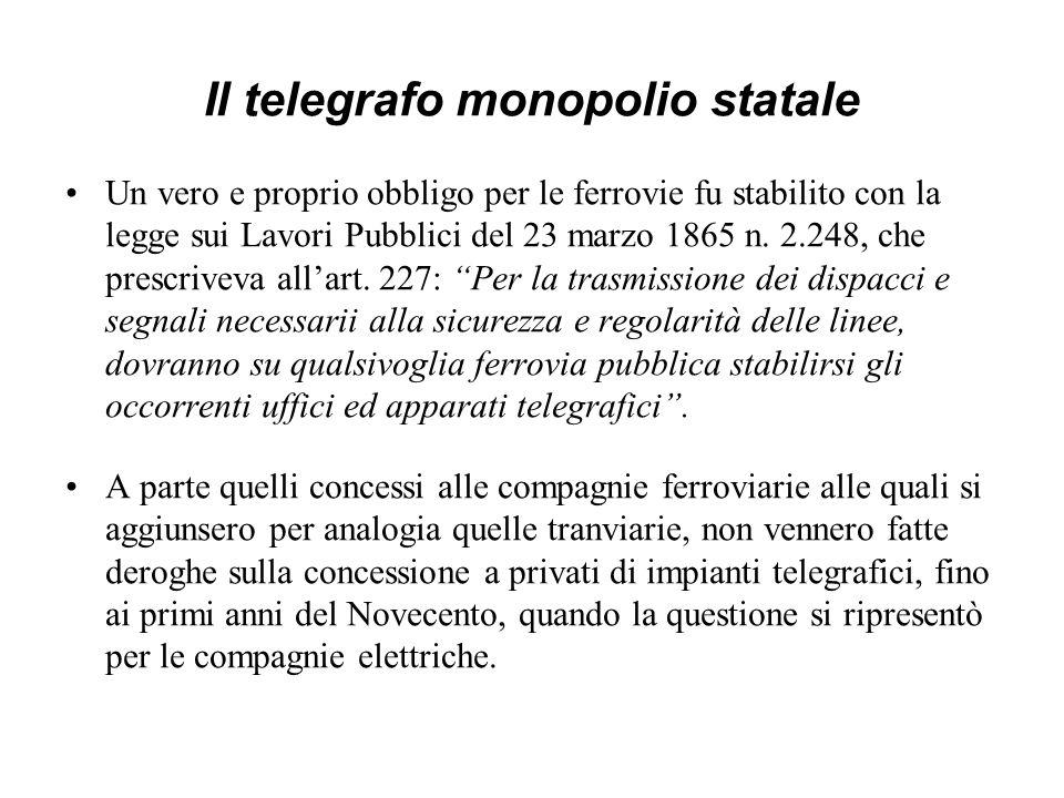 Il telegrafo monopolio statale
