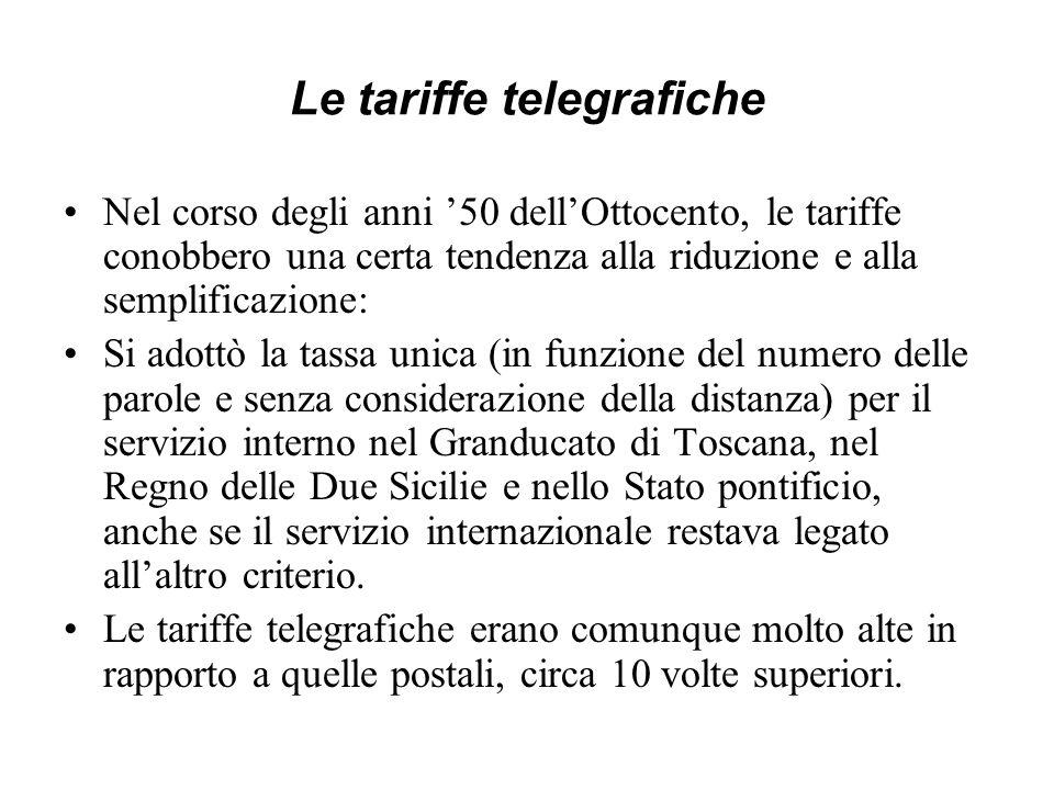 Le tariffe telegrafiche