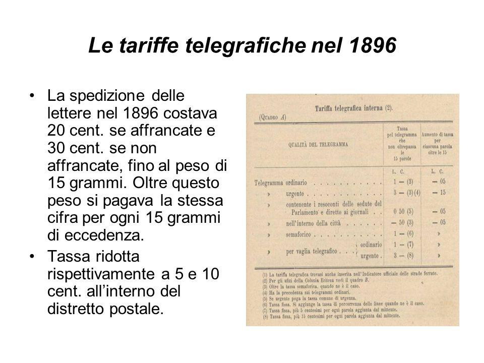 Le tariffe telegrafiche nel 1896
