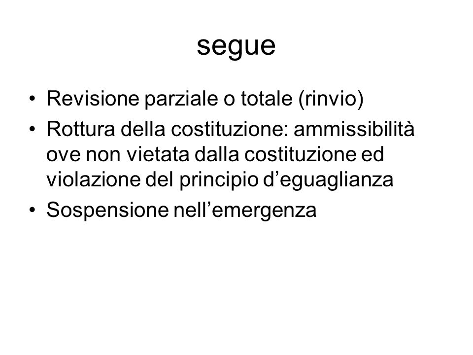 segue Revisione parziale o totale (rinvio)
