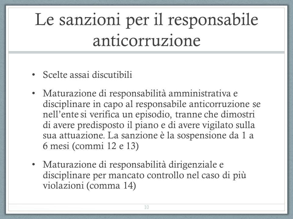 Le sanzioni per il responsabile anticorruzione