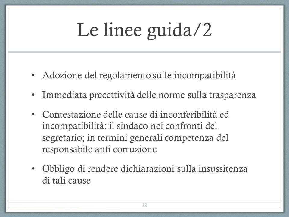 Le linee guida/2 Adozione del regolamento sulle incompatibilità
