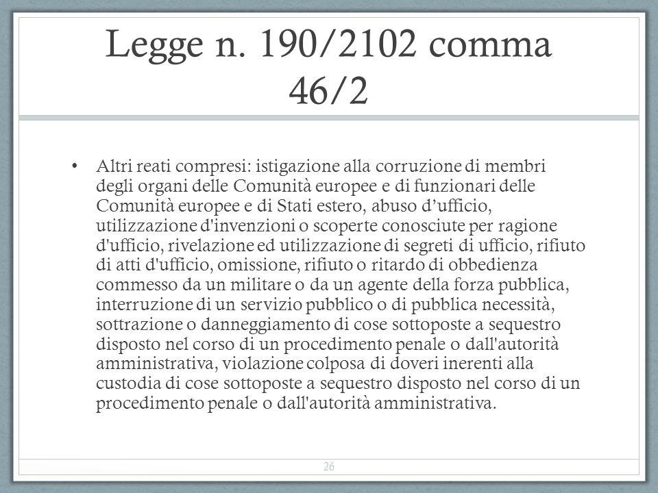 Legge n. 190/2102 comma 46/2