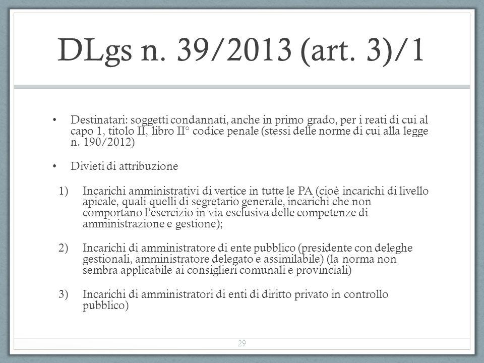 DLgs n. 39/2013 (art. 3)/1