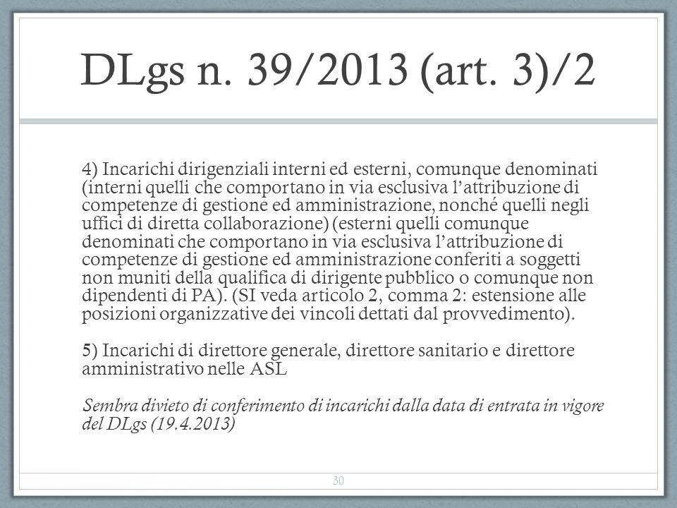 DLgs n. 39/2013 (art. 3)/2