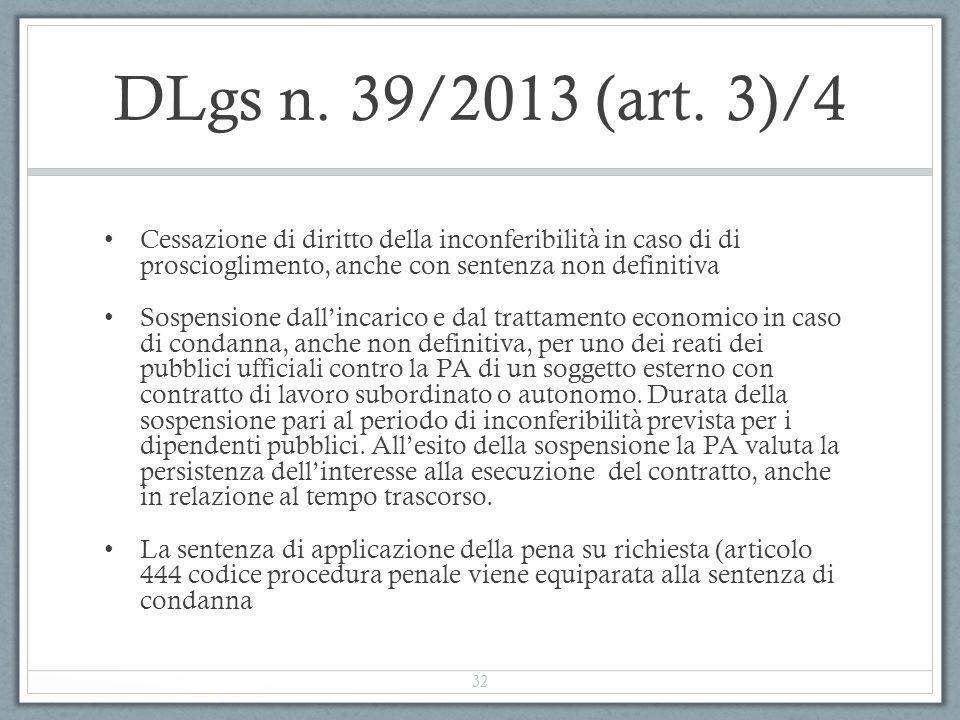 DLgs n. 39/2013 (art. 3)/4 Cessazione di diritto della inconferibilità in caso di di proscioglimento, anche con sentenza non definitiva.