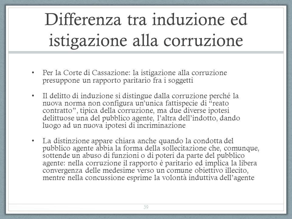 Differenza tra induzione ed istigazione alla corruzione