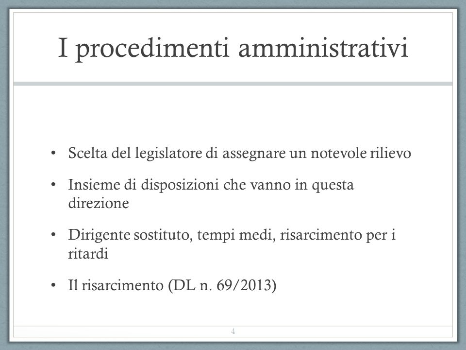 I procedimenti amministrativi