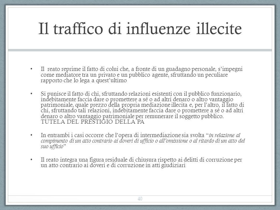 Il traffico di influenze illecite