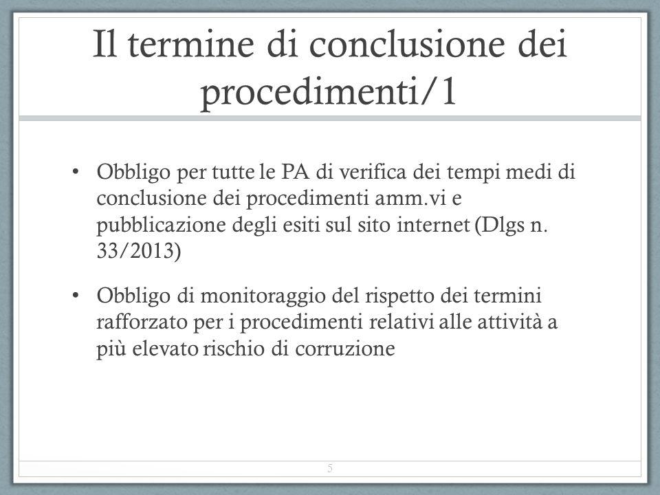 Il termine di conclusione dei procedimenti/1