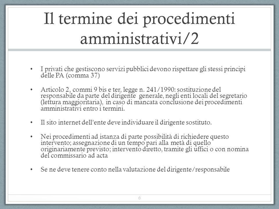 Il termine dei procedimenti amministrativi/2