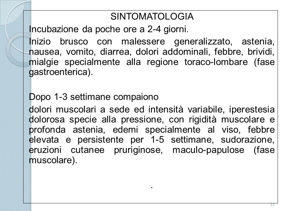 SINTOMATOLOGIA Incubazione da poche ore a 2-4 giorni