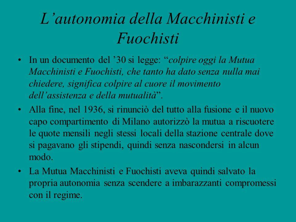 L'autonomia della Macchinisti e Fuochisti
