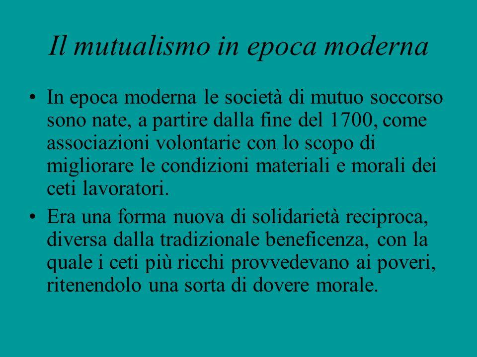 Il mutualismo in epoca moderna